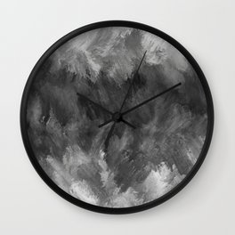 Gray White Feather Brush Abstract Wall Clock