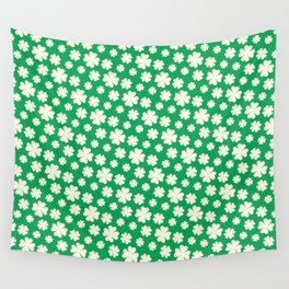 Off-White Four Leaf Clover Pattern with Green Background Wall Tapestry
