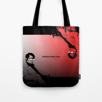 stephen king Tote Bags featuring Stephen King Rules by Hazel Bellhop