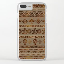 Maya / Aztec  pattern Burn gold on canvas Clear iPhone Case