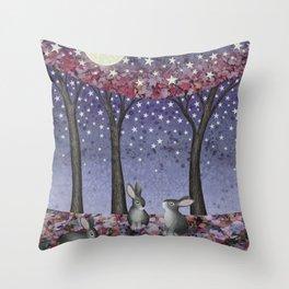 starlit bunnies Throw Pillow