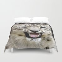 snow leopard Duvet Covers featuring Snow Leopard by MehrFarbeimLeben