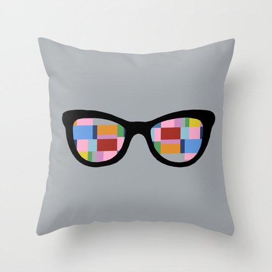 Square Eyes on Grey Throw Pillow