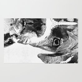 Black And White Boxer Dog Art By Sharon Cummings  Rug