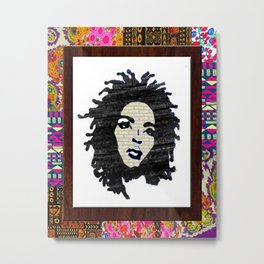 Lauryn Hill vintage fabric & wood grain patterned collage Metal Print