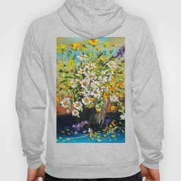 Rainbow Daisies, Colorful Daisies in vase outside Hoody