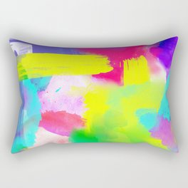 Neon Emotion | Abstract Stripes Neon Artistic Watercolor Pattern Rectangular Pillow