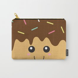 Happy Donut with Chocolate icing and Sprinkles Carry-All Pouch
