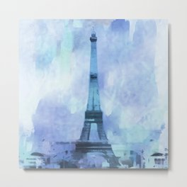 Blue Eifel Tower Paris France abstract painting Metal Print