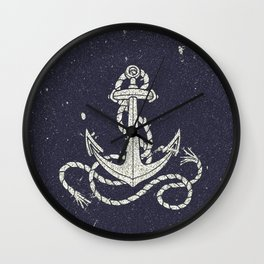 Navy Blue Nautical White Anchor for Sailor Texture Wall Clock