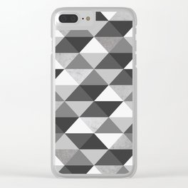 black white polygonal pattern , seamless triangle design, grey Clear iPhone Case