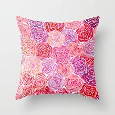 Watercolour Roses Throw Pillow
