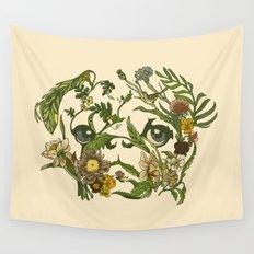 Botanical Pug Wall Tapestry