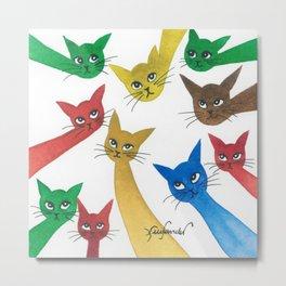 Vernon Whimsical Cats Metal Print