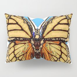 ABSTRACTED  BROWN SPICE  MONARCHS BUTTERFLY  &   BLUE-WHITE HARLEQUIN PATTERN Pillow Sham