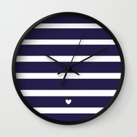 preppy Wall Clocks featuring PREPPY STRIPES by Anna Eve
