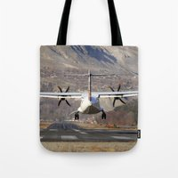 aviation Tote Bags featuring ATR ATR-42-500 Aviation Scenic Dangerous No way out Landing aircraft by Aviator