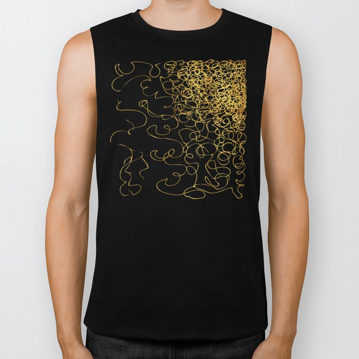 swirly gold gradient Biker Tank