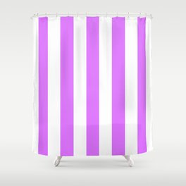 Heliotrope violet - solid color - white vertical lines pattern Shower Curtain