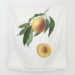 Peach (Persica Iulodermis) from Pomona Italiana (1817 - 1839) by Giorgio Gallesio (1772-1839) Wall Tapestry