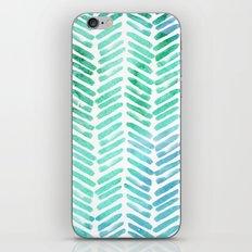 Handpainted Chevron pattern - light green and aqua - stripes #Society6 iPhone Skin