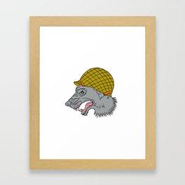 Grey Wolf Head Growling WW2 Helmet Drawing Framed Art Print
