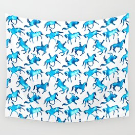 Turquoise Dressage Horse Silhouettes Wall Tapestry