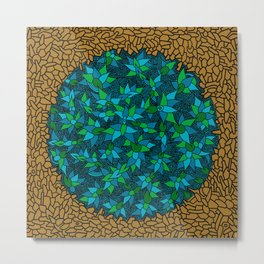 - blue flore in cosmogold - Metal Print