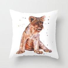 LION cub painting, lions, safari animals, wildlife art, watercolor lion, lion painting Throw Pillow