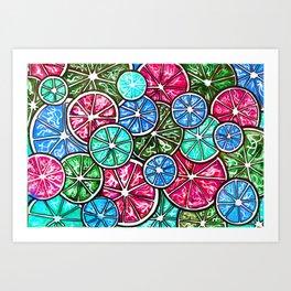 Citruses, Oranges, Lemons, Limes. Watercolor pattern Art Print