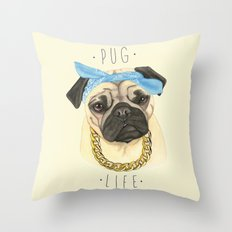 Pug life - pug dog Throw Pillow