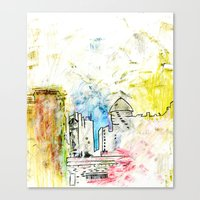 cityscape Canvas Prints featuring Cityscape by Alyssa Leary