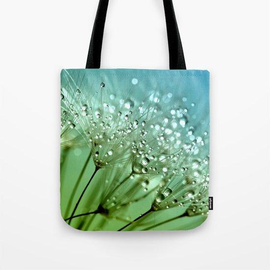 Aqua Sparkling dewdrops on a Dandelion- Flower Flowers Tote Bag