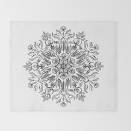 Thrive - Monochrome Mandala Throw Blanket