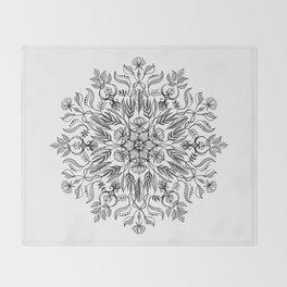 Thrive - Monochrome Mandala Throw Blanket
