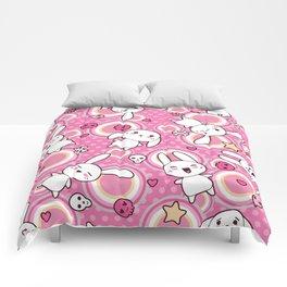 Kawaii Pastel Goth Bunny Pink Circles Comforters