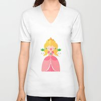 peach V-neck T-shirts featuring Peach by Khatii