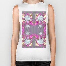 Pink Flowers White Mums Grey Color Garden Art Biker Tank