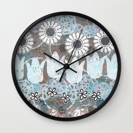 Florals in Neutral Wall Clock