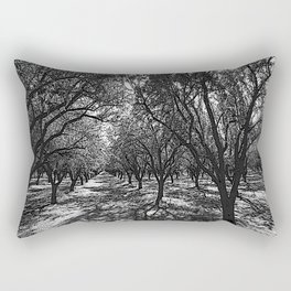 Black & White California Almond Orchard  Pencil Drawing Photo Rectangular Pillow