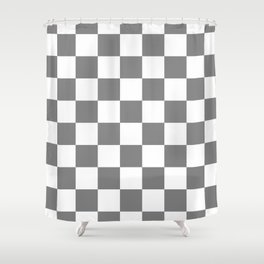 Checkered - White and Gray Shower Curtain