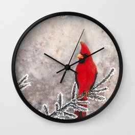 The Red Cardinal in winter Wall Clock