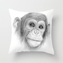 A Chimpanzee :: Not Monkeying Around Throw Pillow