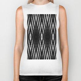 Geometric Black and White Diamond Tribal-Inspired Pattern Biker Tank