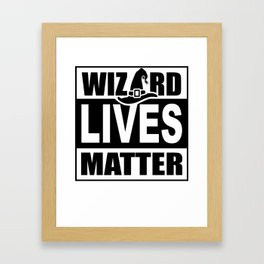 Wizard Lives Matter Retro Halloween Sorcerer Light Framed Art Print