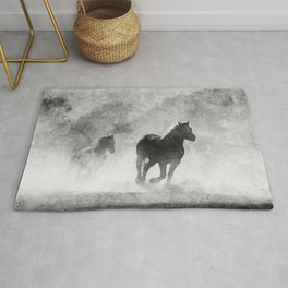 Wild Horses Black & White Watercolor Rug