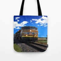 train Tote Bags featuring Train by Phil Flaig