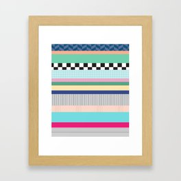 Stripes Mixed Print and Pattern with Color blocking Framed Art Print