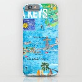 Florida Keys Key West Marathon Key Largo Illustrated Travel Poster Favorite Map 2nd Signpost Edition iPhone Case