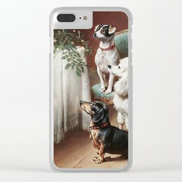 Christmas Dogs Clear iPhone Case